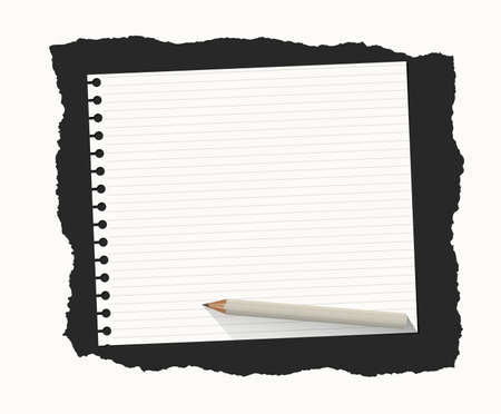 sheet: White ruled notebook paper sheet are on black ripped background with wooden pencil.