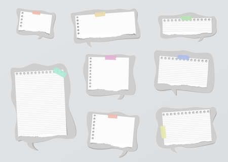ruled paper: Pieces of ripped white ruled and blank notebook paper are on gray speech bubbles.