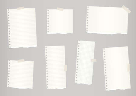 post it note: Pieces of light brown ruled and grid torn notebook paper are stuck with sticky tape. Illustration