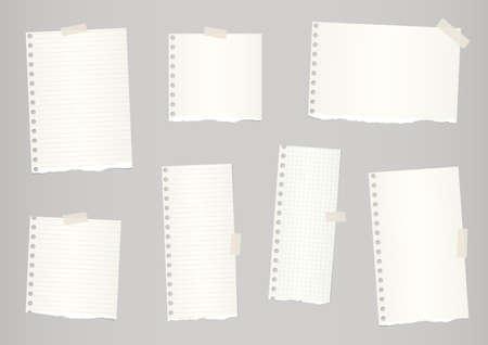 Piezas de color marrón claro descartado y la rejilla de papel de cuaderno rasgado están pegados con cinta adhesiva. Ilustración de vector