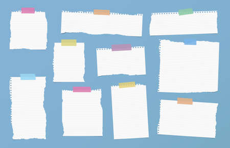 ruled paper: Pieces of ripped white ruled note paper are stuck with colorful sticky tapes on blue background.