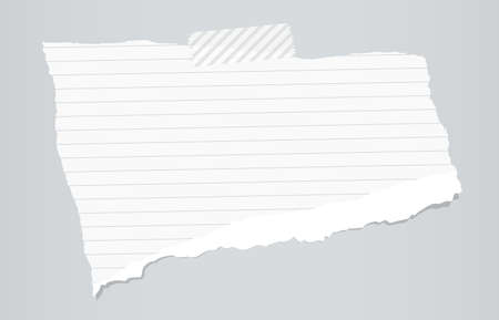 ruled paper: White ripped ruled note paper are stuck with sticky tape on gray background.