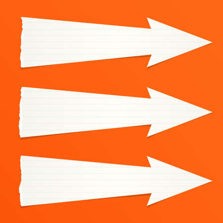 ruled paper: White ruled ripped paper arrows with shadow are on orange background.