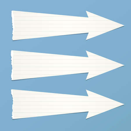 ruled paper: White ruled ripped paper arrows with shadow are on blue background.