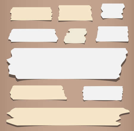 masking: Pieces of different size sticky, adhesive masking tape are on brown background. Illustration