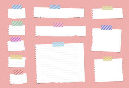ruled paper: Pieces of ripped white ruled notebook paper are stuck with sticky tape on pink pattern.