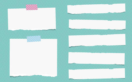 squared: Pieces of torn white note paper are stuck on squared turquoise pattern.