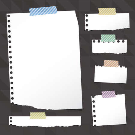 sticky tape: Pieces of ripped white notebook paper are stuck with sticky tape on black pattern created of triangle shapes Illustration