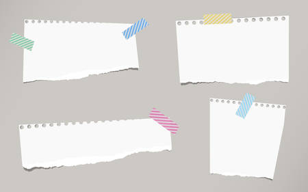 sticky tape: Pieces of ripped white blank notebook paper are stuck with striped sticky tape on gray background.