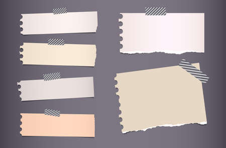 sticky tape: Pieces of ripped colorful notebook paper are stuck with sticky tape on dark gray background.