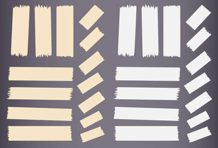 masking: Pieces of different size sticky, adhesive masking tape are on dark gray background. Illustration