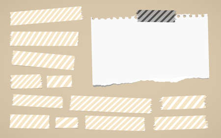 gray strip: Pieces of different size and striped sticky, adhesive masking tapes, ripped white paper are stuck on brown background.