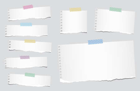 Pieces of ripped white blank notebook paper are stuck with striped sticky tape on gray background.