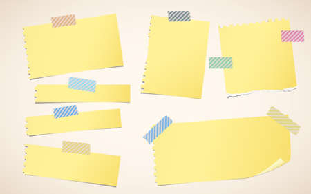 sticky tape: Pieces of ripped yellow blank notebook paper are stuck with striped sticky tape.
