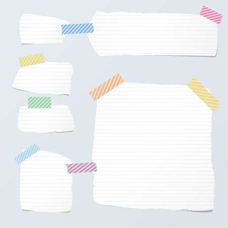 ruled: Pieces of cut white ruled note paper are stuck with striped sticky tape on light blue background.