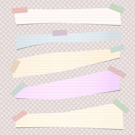ruled paper: Pieces of cut pastel, ruled note paper are stuck with colorful striped sticky tape on grid pattern.