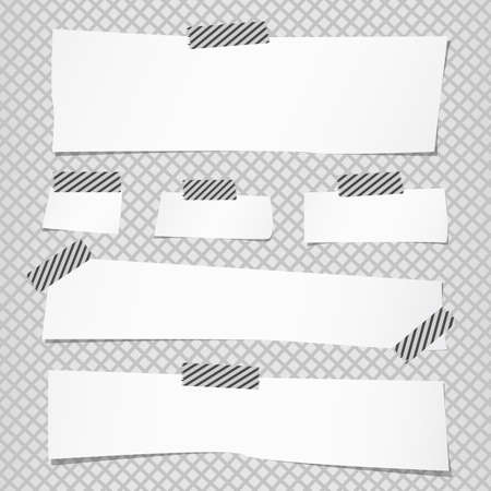 adhesive tape: Pieces of cut white note paper are stuck with striped sticky tape on grid pattern. Illustration