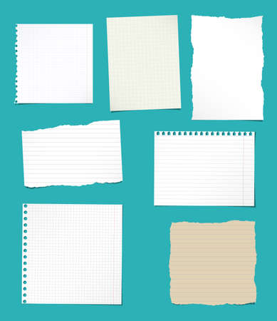 ruled paper: Set of ripped white and brown ruled, math notebook paper are stuck on blue background.
