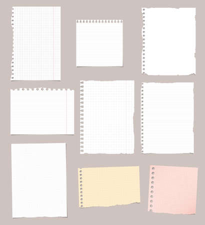 ruled paper: Set of ripped white, brown and pink ruled, math notebook paper are stuck on brown background.