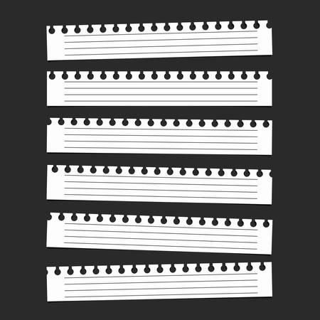 ruled paper: Pieces of white ruled blank notebook paper are stuck on black background.