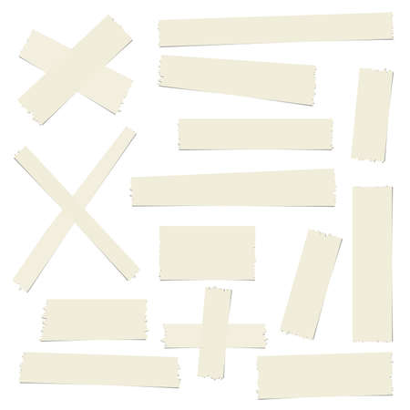 masking: Pieces of brown different size sticky, adhesive masking tape are on white background.