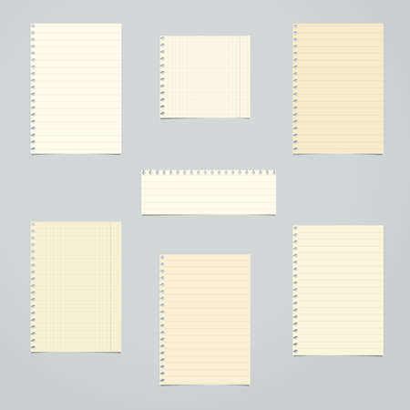 light brown background: Brown, ruled and math blank notebook paper sheets are stuck on light gray background.