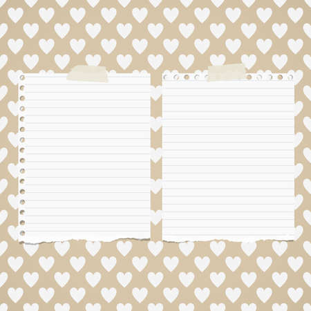 ruled paper: White ripped ruled notebook paper sheets are stuck on pattern of hearts.