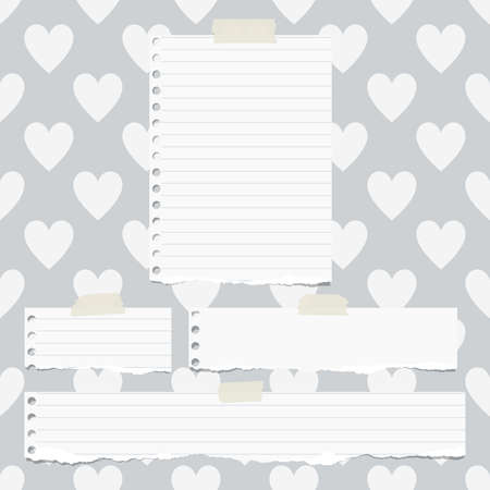 ruled paper: White ripped ruled notebook paper pieces are stuck on gray pattern of hearts.