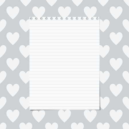 ruled: White ruled notebook paper sheet are stuck on gray pattern of hearts. Illustration