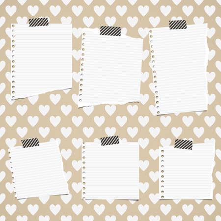 リッピング ホワイト ノート用紙が心のパターンで立ち往生している判決を下した。  イラスト・ベクター素材