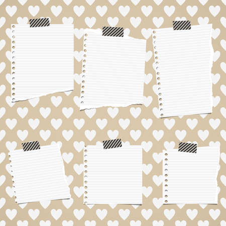 White ripped ruled notebook paper sheets are stuck on pattern of hearts.