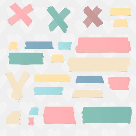 masking: Colorful horizontal masking, sticky tape pieces and symbols on white background.