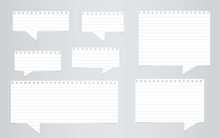ruled: White ruled notebook paper speech bubbles are on gray background. Illustration