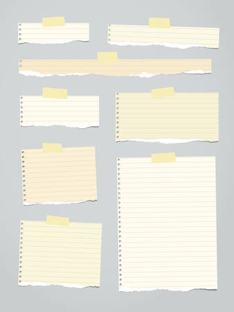 ruled paper: Pieces of light brown ruled torn note paper with yellow adhesive, sticky tape are stuck on background.