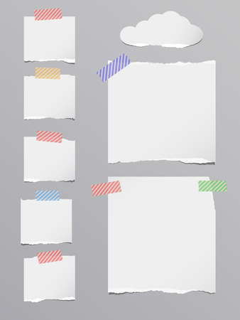 blank note: Pieces of ripped white blank note paper are stuck with striped sticky tape on dark gray background. Illustration