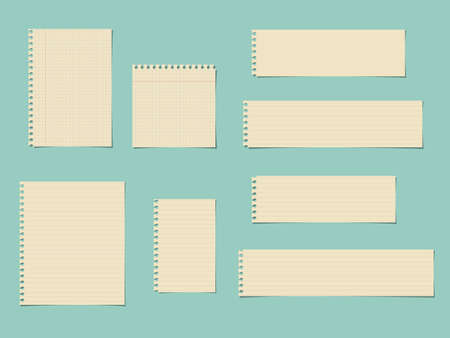 ruled paper: Pieces of cut yellow squared, ruled notebook paper are stuck on blue background.