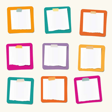 blank note: Pieces of ripped white blank note paper are stuck on colorful squares. Illustration