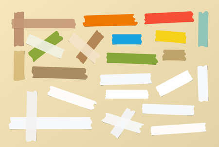 scotch: Pieces of different size, colourful, sticky, adhesive masking tape are on brown background.