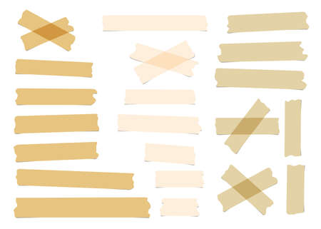 masking: Pieces of different size, color, sticky, adhesive masking tape are on white background.