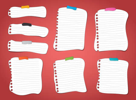 memos: Cut ruled notebook, note paper sheets with colorful sticky tape on red background.