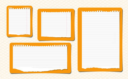 ruled: Pieces of ripped white ruled note, notebook paper are stuck on yellow rectangles.