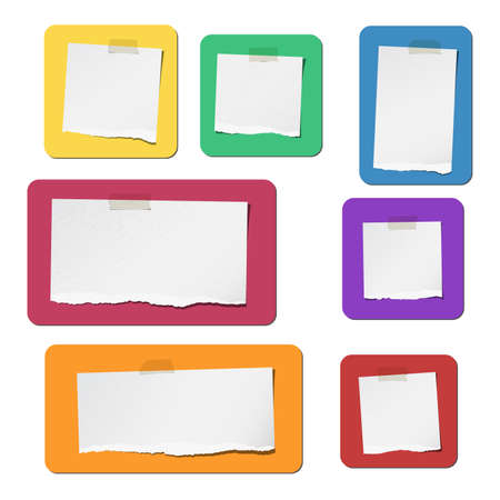 square tape: Pieces of ripped white blank grainy note paper are stuck on colorful flat shapes.