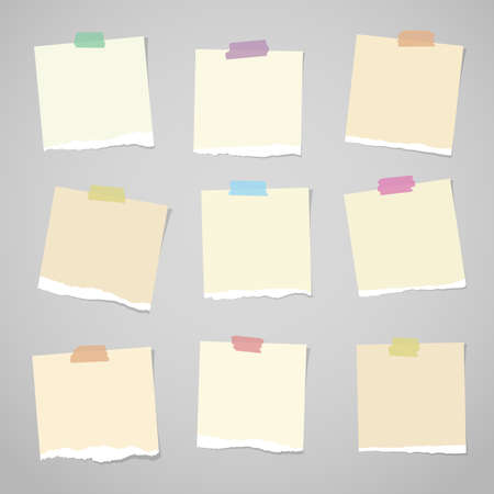 Pieces of light brown torn note paper with colorful adhesive, sticky tape stuck on grey background. Illustration