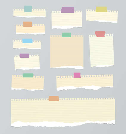 ruled: Pieces of light brown ruled torn note paper with yellow adhesive, sticky tape are stuck on background.