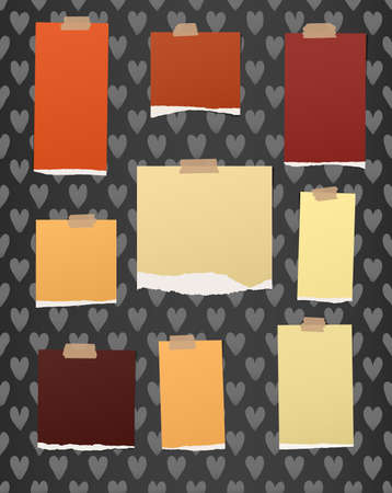 sticky tape: Ripped colorful notebook, note paper stuck with brown sticky tape on pattern created of heart shapes. Illustration