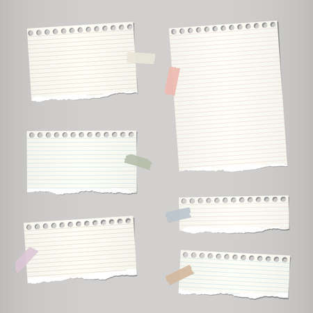 note notebook: Pieces of light brown torn note, notebook paper sheets with colorful adhesive, sticky tape stuck on grey background. Illustration