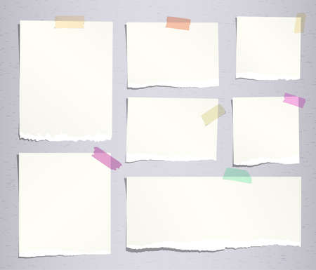 note notebook: Pieces of beige ripped note, notebook paper sheets with colorful adhesive, sticky tape stuck on grey background.