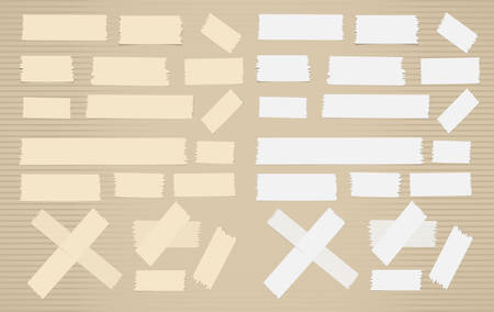 scotch: Pieces of different size sticky, adhesive masking tape are on brown background. Illustration
