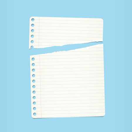 note notebook: White ripped ruled note, notebook paper on blue background.