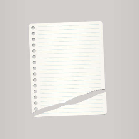 note notebook: White ripped ruled note, notebook paper on grey background.
